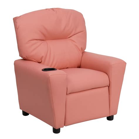 flash furniture contemporary pink vinyl recliner with