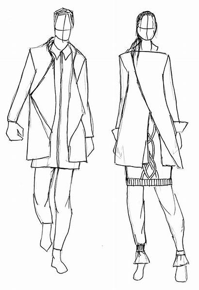 Line Drawings Together Outfits Putting Clothes Shirt