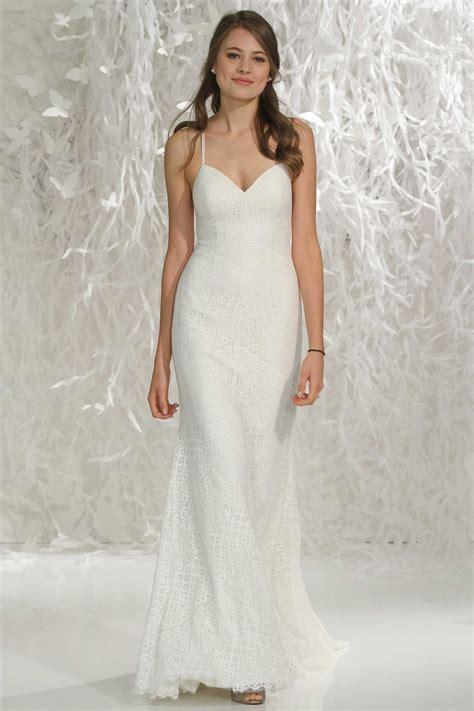 spaghetti strap wedding dress with lace sang maestro