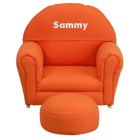 orange fabric rocking chair and ottoman