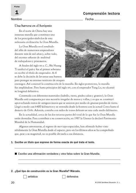 Comprensión Lectora 21 Fichas De La Editorial Santillana Para 6º De Educación Primaria  Sos Profes