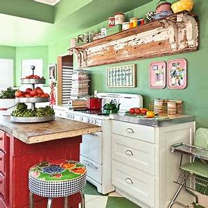 Green and red rustic kitchen interiors by color for Kitchen colors with white cabinets with polka dot wall art