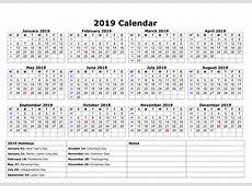 Free Editable USA 2019 Calendar PDF, Excel, Word Templates