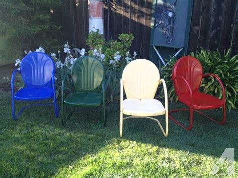 retro vintage colorful metal patio chairs four 4 for