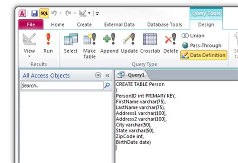 sql query to create table creating a table using sql commands in access 2010