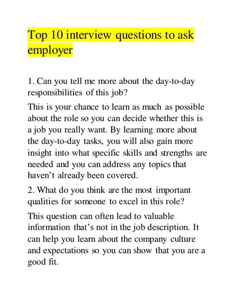 good questions to ask during a job interview top 10 interview questions to ask employer