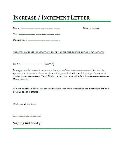 salary increment letter template  generally  summary