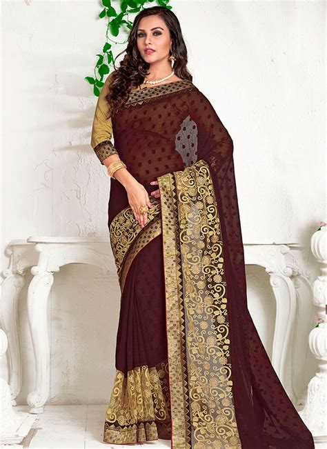 Did you scroll all this way to get facts about contrast blouse? Gratifying Coffee Brown Color Party Wear Saree