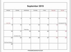 September 2019 Calendar Template month printable calendar