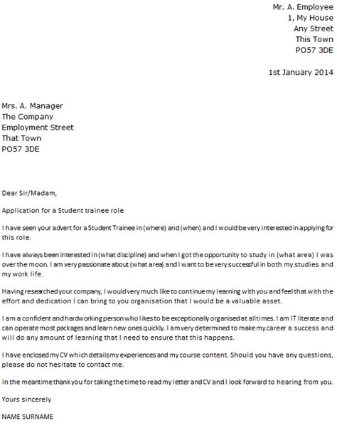 Cover Letter For Audit Trainee by Student Trainee Cover Letter Exle Icover Org Uk