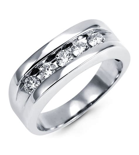 mens  white gold diamond channel set wedding ring