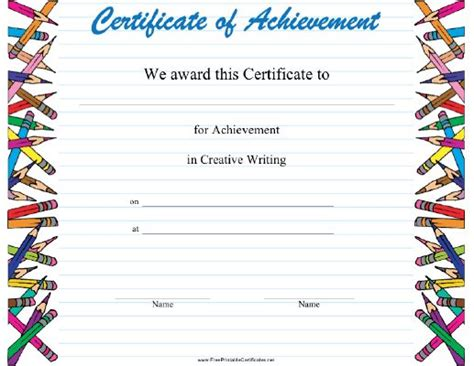 creative writing achievement certificate features