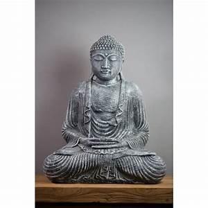 Statue Bouddha Interieur : statue bouddha dhyana mudra 55 cm gris ~ Teatrodelosmanantiales.com Idées de Décoration