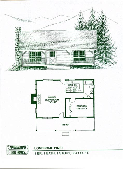 Log Cabin Kits Floor Plans by Lonesome Pine I 1 Bed 1 Bath 1 Story 864 Sq Ft