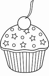 Cupcake Clip Outline Colorable Clipart Cherry Sprinkles Sweetclipart sketch template