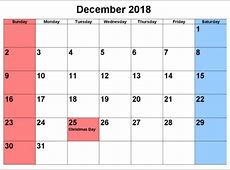 June 2018 calendar printable uk — December calendar
