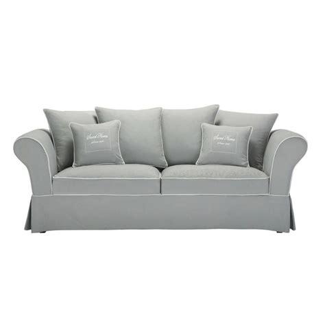 canapé 3 2 tissu canapé 3 4 places en coton gris home maisons du monde