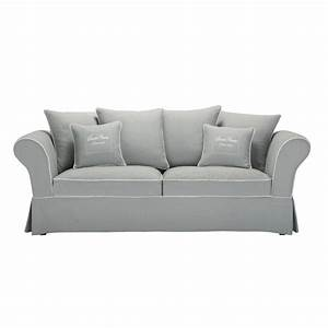 canape 3 4 places en coton gris sweet home maisons du monde With canapé gris 4 places