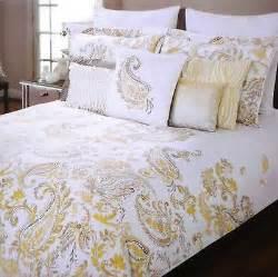 tahari yellow gray white paisley 3pc full queen duvet