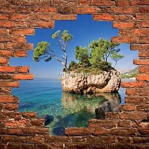 Trompe L Oeil Mur : sticker mural trompe l il mur de pierre m diterran e stickers muraux deco ~ Dode.kayakingforconservation.com Idées de Décoration