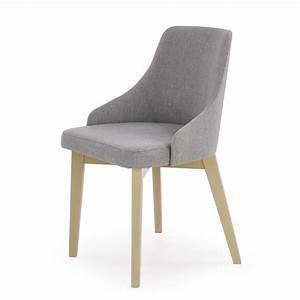 Chaise En Tissu Gris : chaise fauteuil tissu gris inri91 avec bois massif dossier enveloppant ~ Teatrodelosmanantiales.com Idées de Décoration