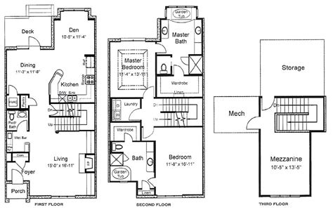 3 story floor plans berkman townhomes in downtown jacksonville florida