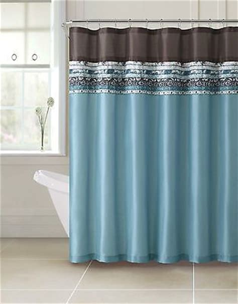 brown and blue shower curtain poetica faux silk aqua blue teal brown turquoise fabric