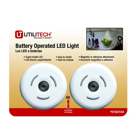 shop utilitech 2 pack battery cabinet led puck light kit