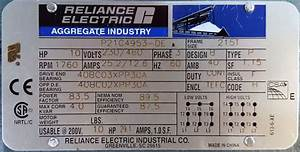 Reliance  P21g4953  10 Hp  1800 Rpm  230  460 Volts  Tefc