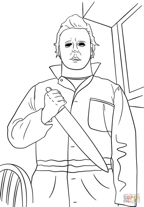 michael myers coloring page  printable coloring pages