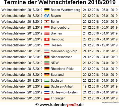 weihnachtsferien und deutschland alle bundeslaender