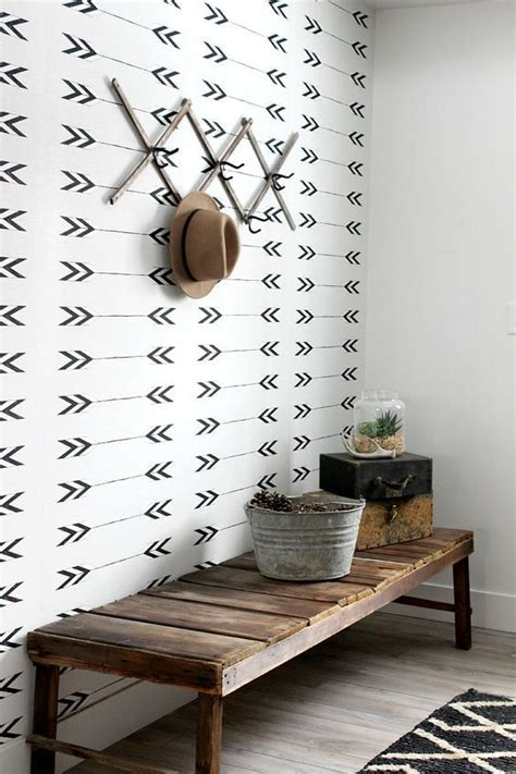 monochrome wallpaper  accentuate  entryway area