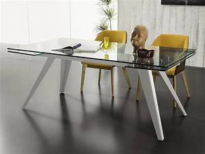 Tavolo allungabile in vetro con gambe in metallo Track