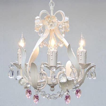 mini pink chandelier gallery t40 156 white 4 light 1 tier mini