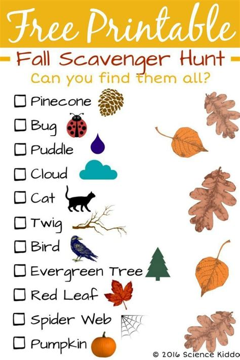fall nature scavenger hunt  kids nature scavenger
