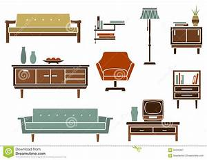 Flat Interior Furniture And Accessories Stock Vector ...