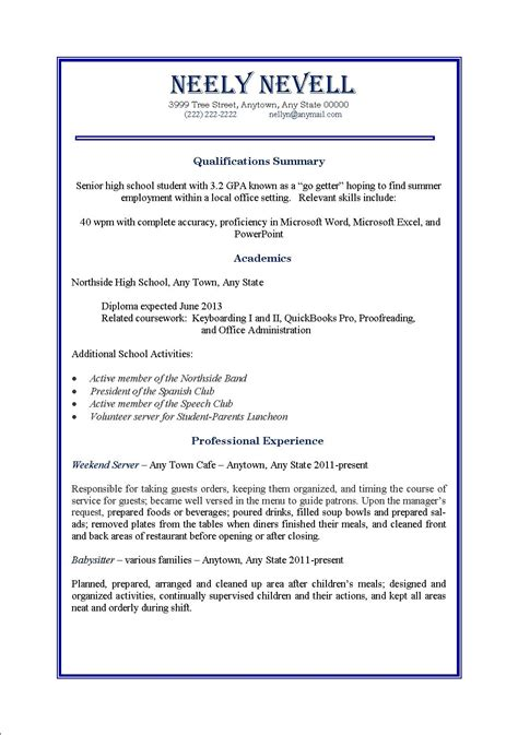 Cv Exles Student Part Time by High School Student Time Resume Resume