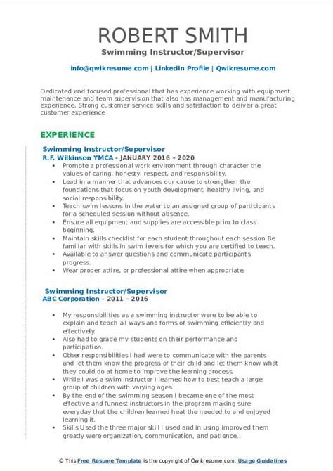 Searches related terms to teacher resume format. Swimming Instructor Resume Samples | QwikResume