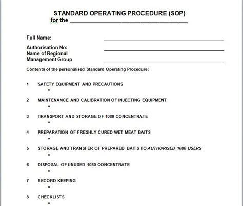 sop template free 37 best standard operating procedure sop templates