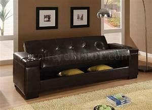 dark brown vinyl contemporary sofa bed w hidden storage With hidden sofa bed
