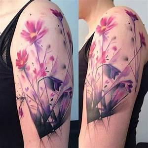 Purple Flowers Tattoo on Shoulder | Best Tattoo Ideas Gallery