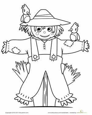 scarecrow worksheet education 202 | scarecrow coloring page holiday preschool