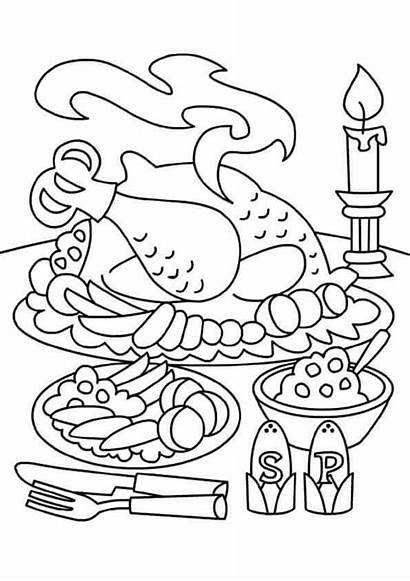 Thanksgiving Coloring Pages Dinner Turkey Feast Sheets