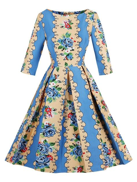 retro l yellow vintage dresses blue and yellow l retro floral fit and