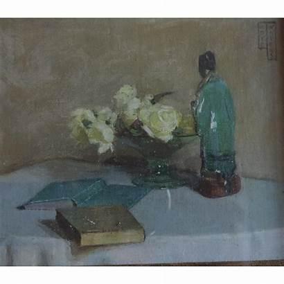 Still Oil Painting Porcelain 1930 Roses Deco