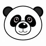 Panda Coloring Bear Face sketch template
