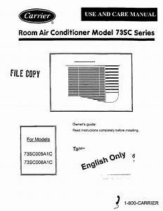 Carrier Air Conditioner 73sc005a1c User Guide