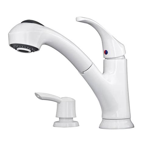 kitchen faucets white shop pfister shelton white 1 handle deck mount pull out
