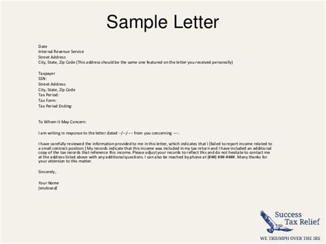 write  letter  explanation   irs