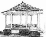 Coloring Gazebo Garden Gate Template sketch template